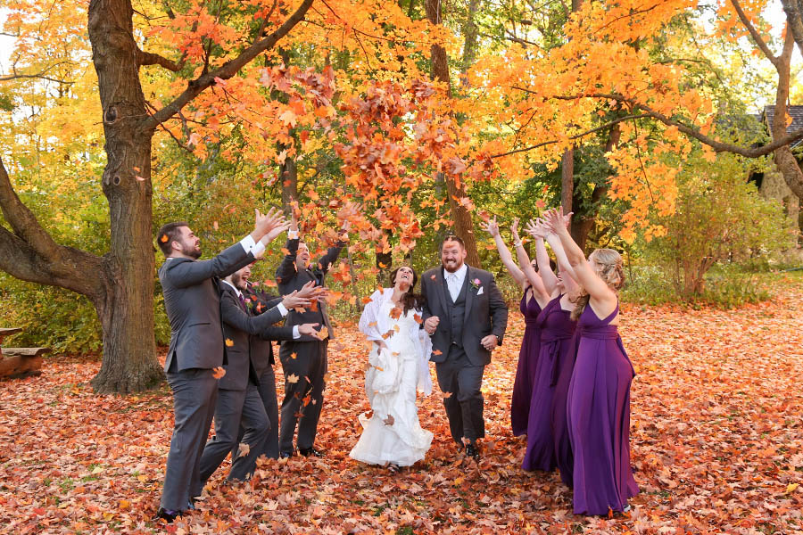 fall wedding fun shot