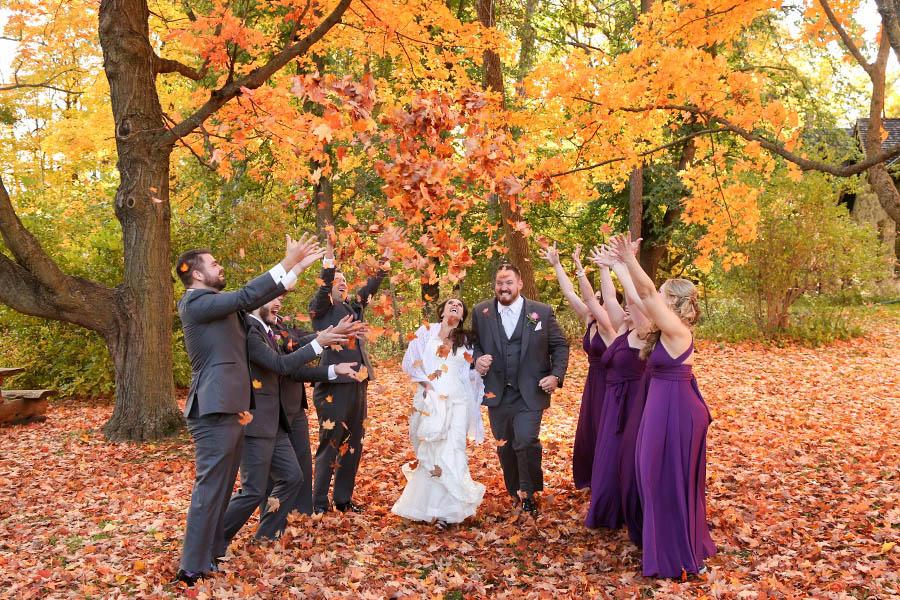 fall wedding fun shot